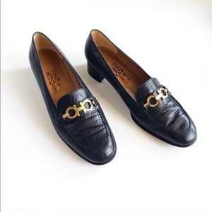 Salvatore Ferragamo Leather Loafers w/ Gold Detail